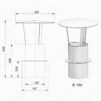 Komínová stříška  (průměr 150 mm)