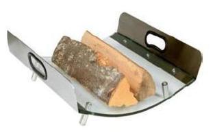 Koš na dřevo z kaleného skla a držadlem z nerezu