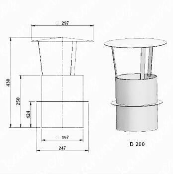 Komínová stříška  (průměr 200 mm)