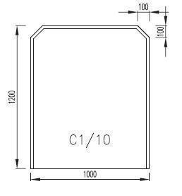 Podkladové sklo C1/10F (rohy 100 x 100 místo 200 x 200)